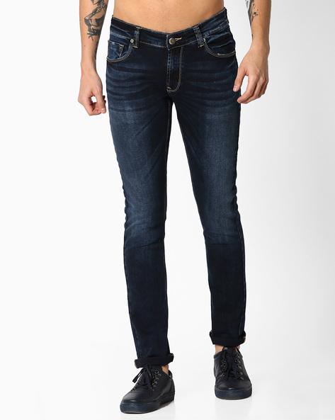 Slim Fit Lightly Washed Jeans By SPYKAR ( Dkblue ) - 460071665012