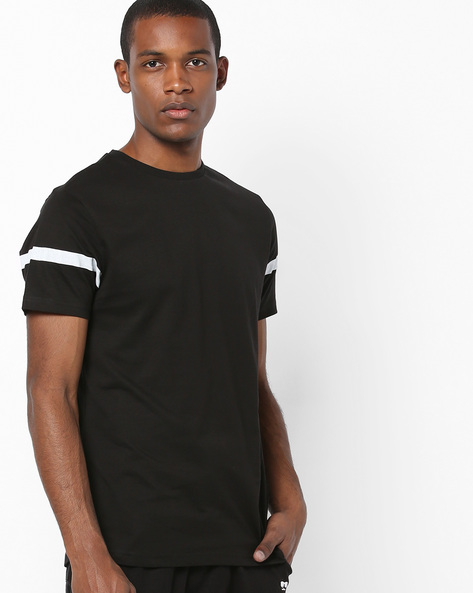 Crew-Neck T-shirt With Side Zip By AJIO ( Black )