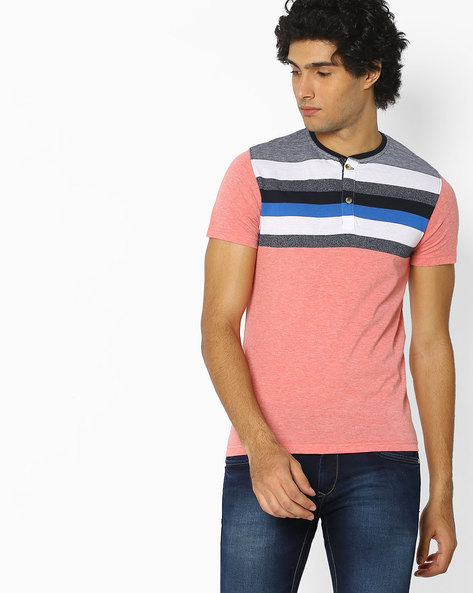 Striped Henley Cotton T-shirt By Fort Collins ( Multicolour ) - 460077129004