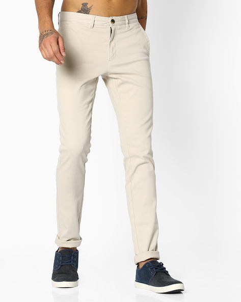 Flat-Front Stretch Chinos By NETPLAY ( Stone )