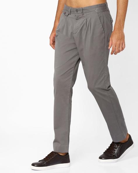 Pleated Twill Trousers By ADAMO LONDON ( Grey )