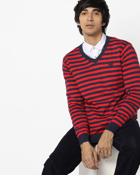 V-neck Striped Pullover By FLYING MACHINE ( Assorted )