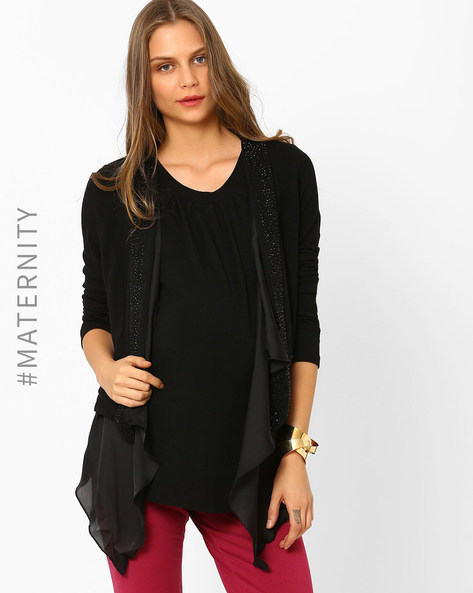 Embellished Maternity Shrug By AJIO ( Black )