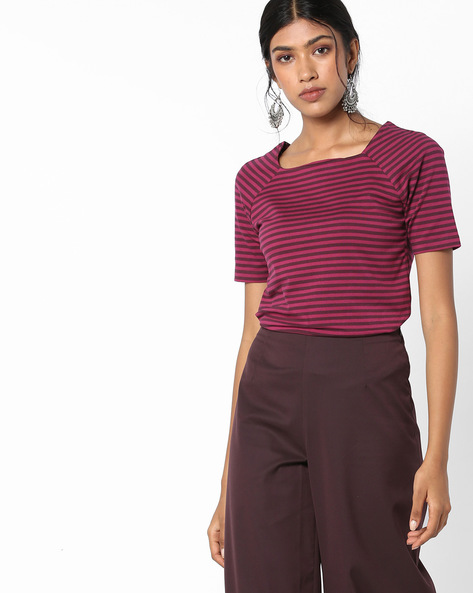 Cotton Striped Top With Raglan Sleeves By UNITED COLORS OF BENETTON ( Multicolor )