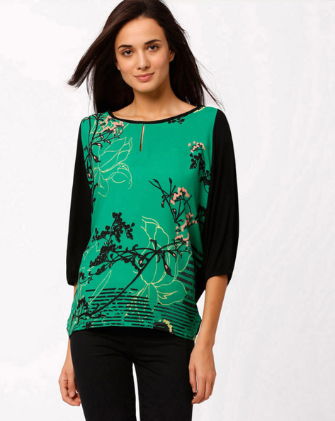 Floral Print Top By W ( Green )