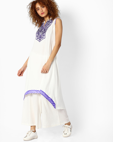 Sleeveless Kurta With Asymmetrical Hem By Indian Ink ( Purple )