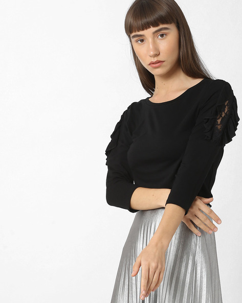 Drop-Shoulder Top With Lace Inserts By BOSSINI ( Black )