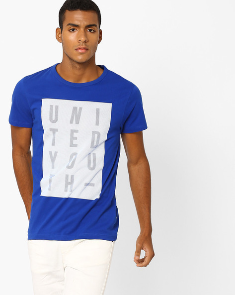 Printed Slim Fit T-shirt By Jack & Jones ( Blue )