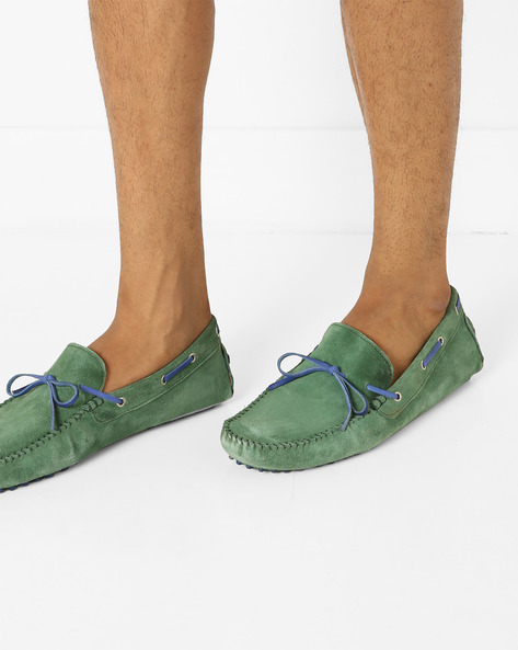 N9-Treated Boat Shoes With Moc-Stitched Upper By AJIO ( Green )