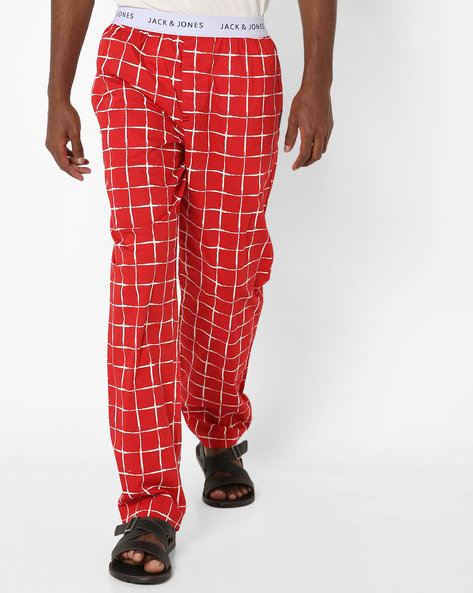 Checked Pyjamas With Elasticated Waistband By Jack & Jones ( Red )