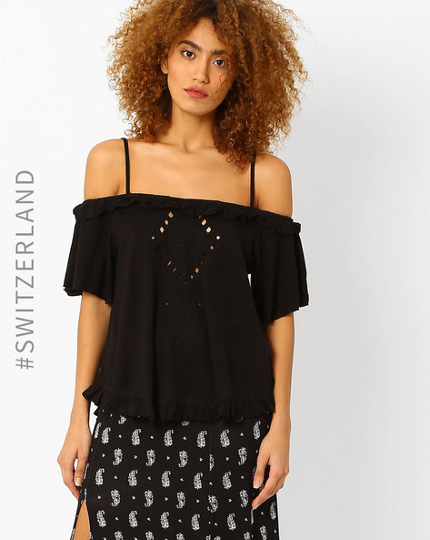 Off-Shoulder Top With Cutouts By TALLY WEiJL ( Black )