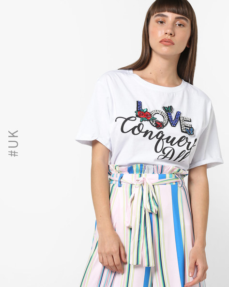 Typographic Print Crew-Neck T-shirt By BRAVE SOUL ( White )