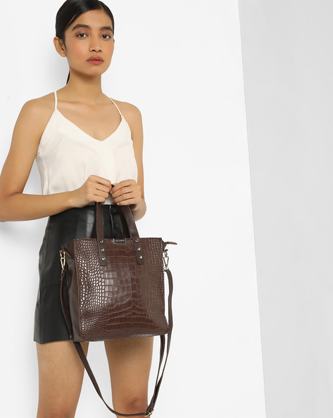 Textured Shoulder Bag With Detachable Sling By Lino Perros ( Brown )