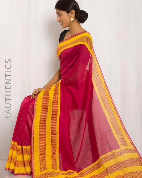 Hand Block Print Maheshwari Saree By Indie Picks ( Maroon )
