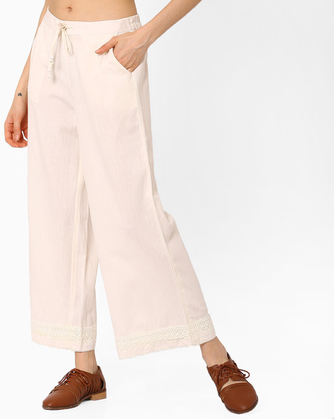 Palazzo Pants With Drawstring Fastening By AJIO ( Offwhite )