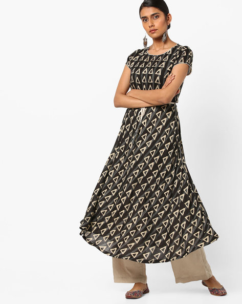 Block Print Fit & Flare Dress With Tie-Up By AJIO ( Black )