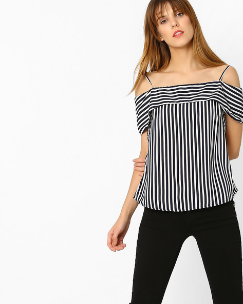 Striped Off-Shoulder Top By Sassafras ( Navyblue )