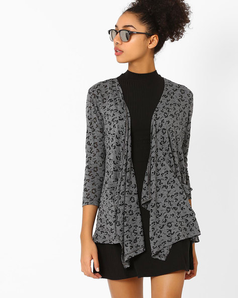 Printed Waterfall Shrug By AJIO ( Black )