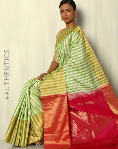 Handloom Striped Pure Silk Saree With Tissue Border By Pretty Woman ( Green )