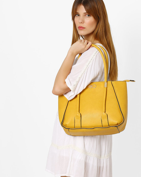 Textured Tote Bag By E2O ( Yellow )