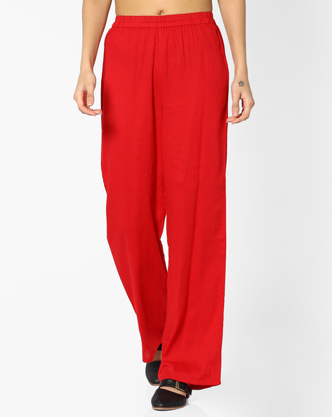 Cotton Palazzo Pants With Elasticated Waistband By Global Desi ( Red )