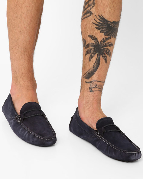 Genuine Leather Low-Top Casual Shoes By AJIO ( Navy )