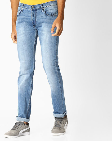 Lightly Washed Slim Fit Jeans By Lee ( Blue ) - 460065819001