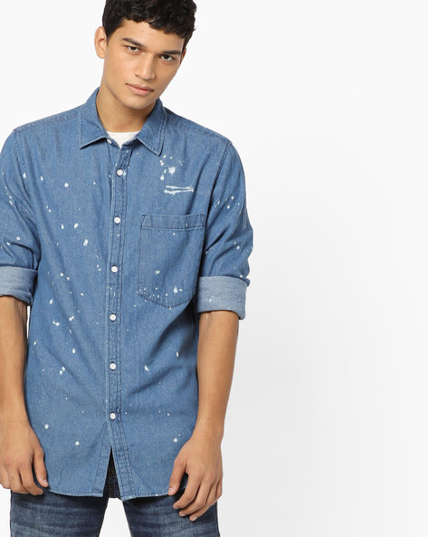 Printed Shirt With Patch Pocket By Blue Saint ( Blue )