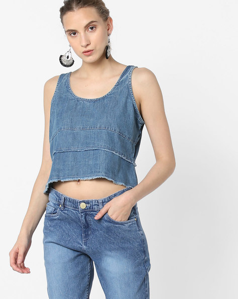 Panelled Denim Top With Frayed Hems By Blue Saint ( Blue )