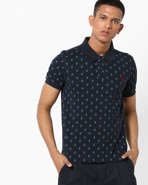 Printed Polo T-shirt By US POLO ( Navy )