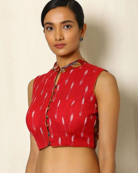 Kalamkari Handblock Print Cotton Blouse With Ikat By Indie Picks ( Red ) - 460049970001
