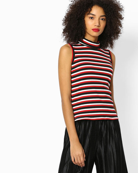 Striped Sleeveless Top With Turtle Neck By Teamspirit ( Red )