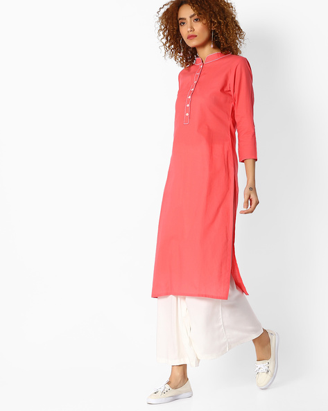 Cambric Straight Kurta By Indian Ink ( Coral )