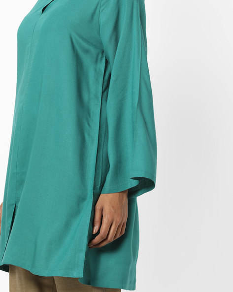 Tunic With Embroidered Shoulder Panels By AJIO ( Green )