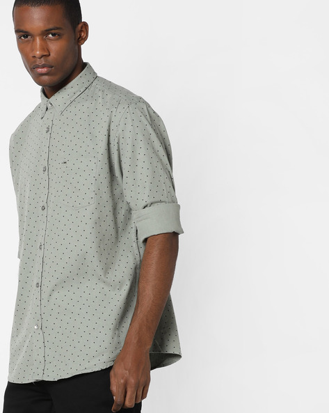 Ditsy Print Slim Fit Shirt By BASICS ( Green )