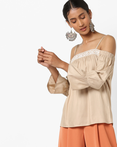 Off-Shoulder Strappy Top With Embroidery By KRAUS ( Beige )