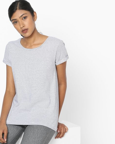 Striped T-shirt With Upturned Hems By DNMX ( White )