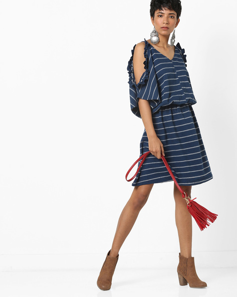 Striped Blouson Dress With Cold Shoulder Sleeves By AJIO ( Navy )
