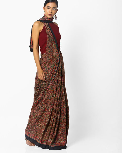 Paisley Print Saree With Contrast Border By Majestic Silk ( Brown )