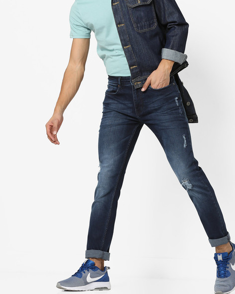 Mid-Wash Distressed Jeans By AJIO ( Blue ) - 460144865004