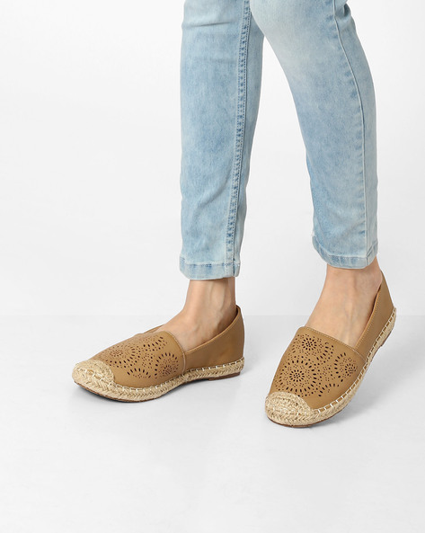 Laser-Cut Slip-Ons With Braided Detailing By Jove ( Beige )