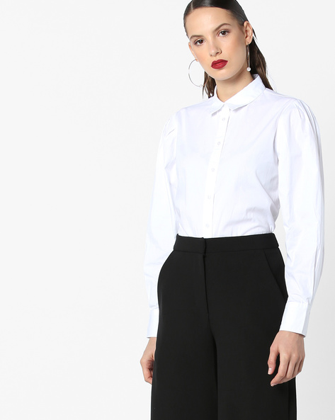 Shirt With Spread Collar By AJIO ( White )