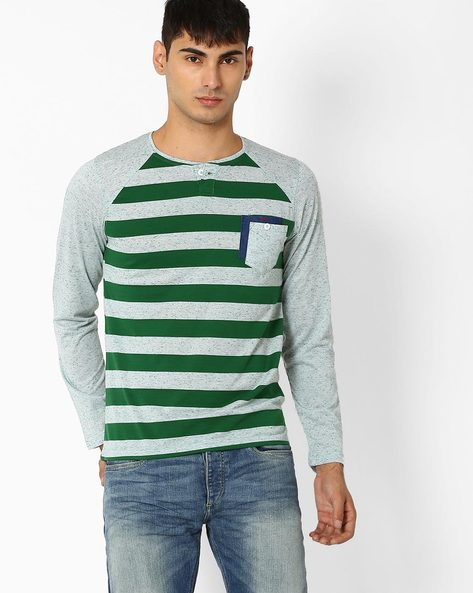 Striped Henley T-shirt With Raglan Sleeves By Fort Collins ( Green )