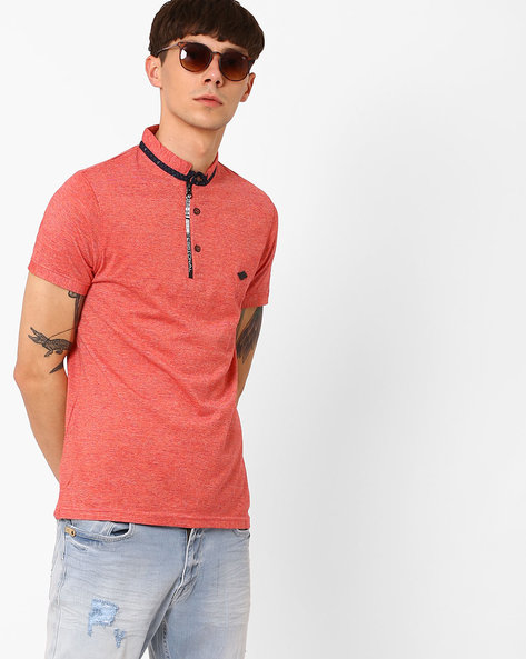 Collared Cotton T-shirt By Fort Collins ( Red )