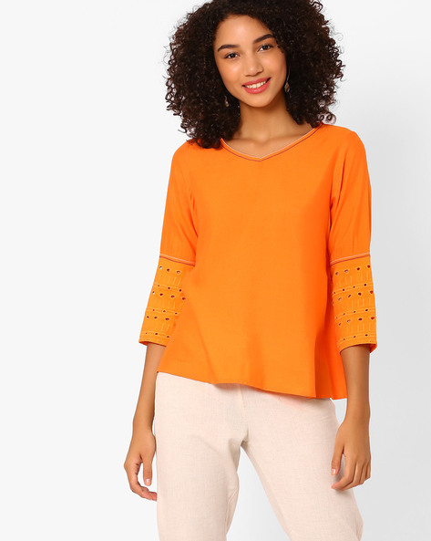 V-Neck Top With Embroidery By Global Desi ( Orange )