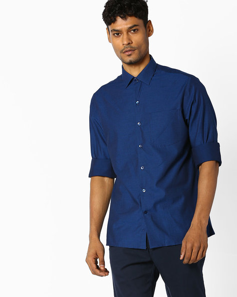 Shirt With Patch Pocket By JOHN PLAYERS ( Blue )