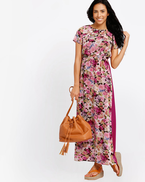 Floral Print Maxi Dress By The Vanca ( Burgundy )