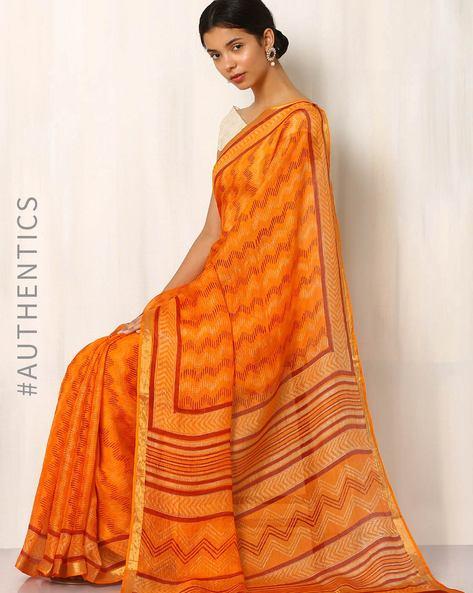 Bagru Print Kota Pure Silk Saree By Indie Picks ( Orange )