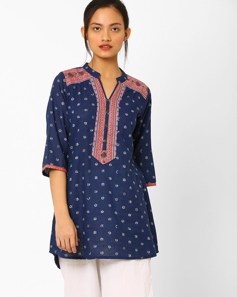 Printed High-Low Tunic By AYAANY ( Blue )
