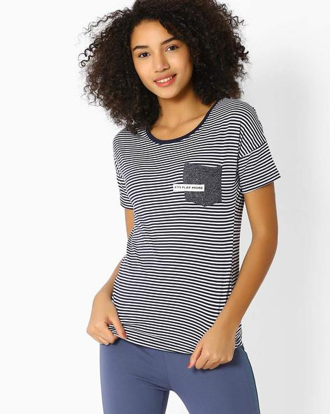 Striped T-shirt With Patch Pocket By TEAM SPIRIT ( Navy )